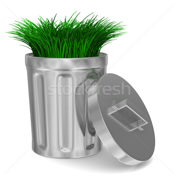 Garbage basket and grass on white background. Isolated 3D image Stock photo © ISerg