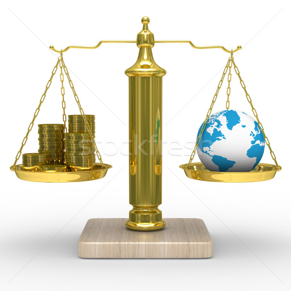 Cashes and the globe on scales. Isolated 3D image Stock photo © ISerg