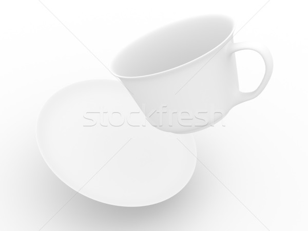 Stockfoto: Vallen · koffiekopje · schotel · geïsoleerd · 3D · afbeelding