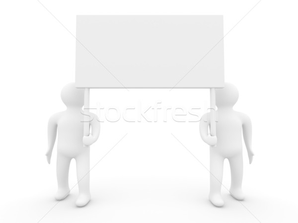 Two persons hold a banner on white background. 3D image Stock photo © ISerg