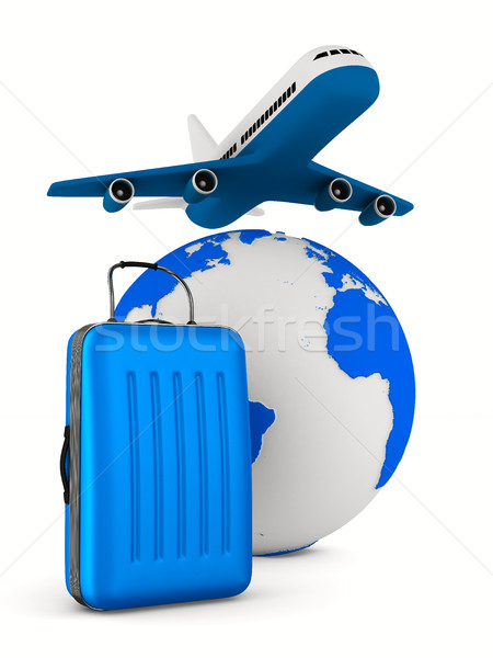 Stock photo: airplane and globe on white background. Isolated 3D image