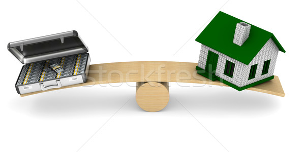 House and money on scales. Isolated 3D illustration Stock photo © ISerg