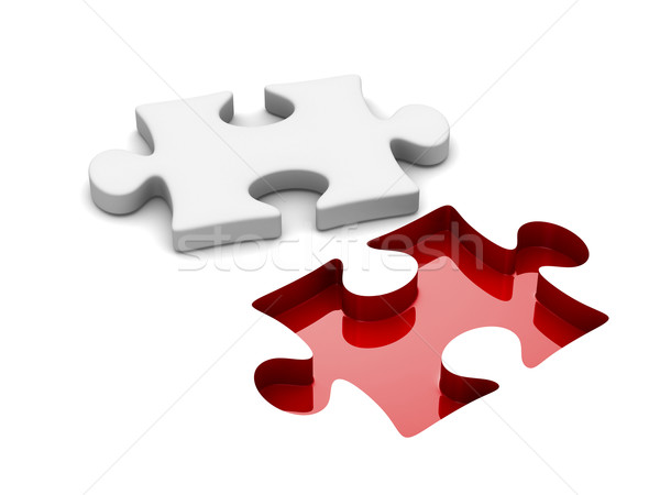 Stock foto: Puzzle · weiß · isoliert · 3D · Bild · Business