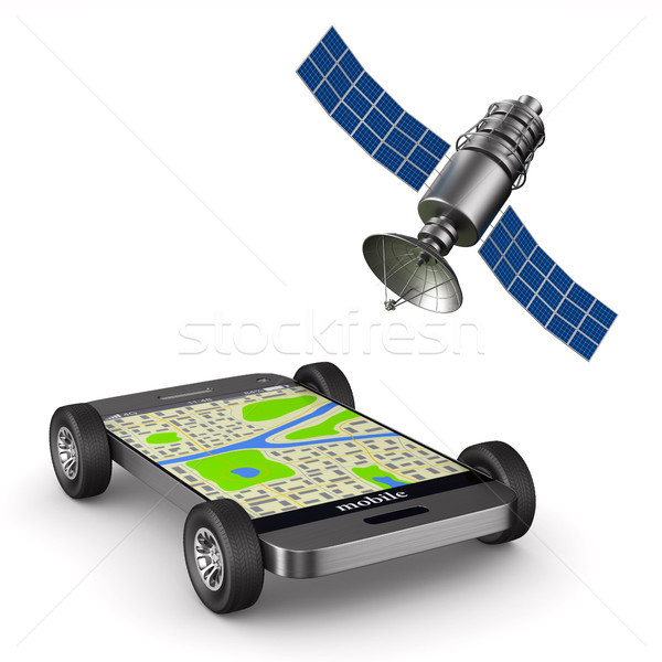 Stock photo: Navigation in phone. Isolated 3D illustration