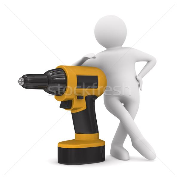 Wiercenia człowiek biały odizolowany 3D obraz Zdjęcia stock © ISerg