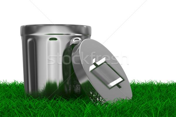Garbage basket on grass. Isolated 3D image Stock photo © ISerg
