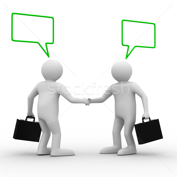 Handshake. Meeting two businessmen. Isolated 3D image Stock photo © ISerg