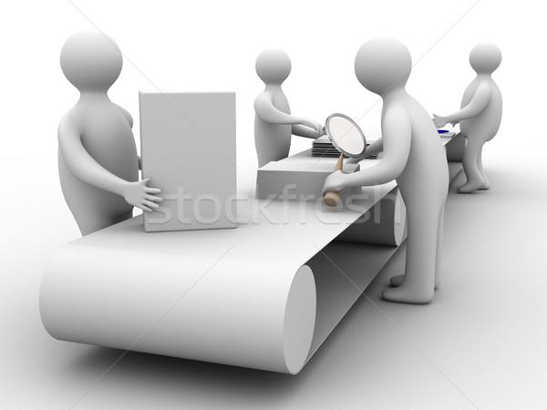 Work on the conveyor. 3D image. Isolated illustrations Stock photo © ISerg