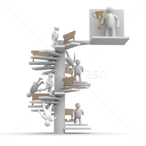 Photo stock: Champion · tasse · isolé · 3D · image · homme