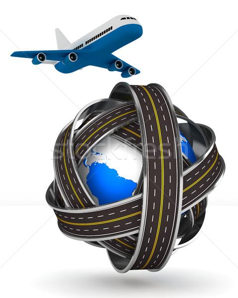 Wegen wereldbol vliegtuig witte geïsoleerd 3D Stockfoto © ISerg