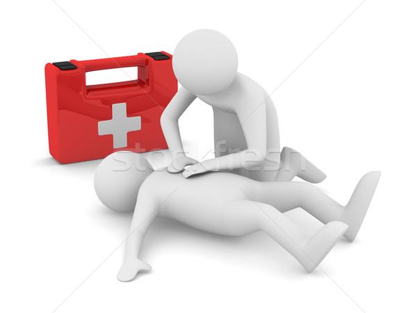 Primeros auxilios artificial aliento aislado 3D imagen Foto stock © ISerg