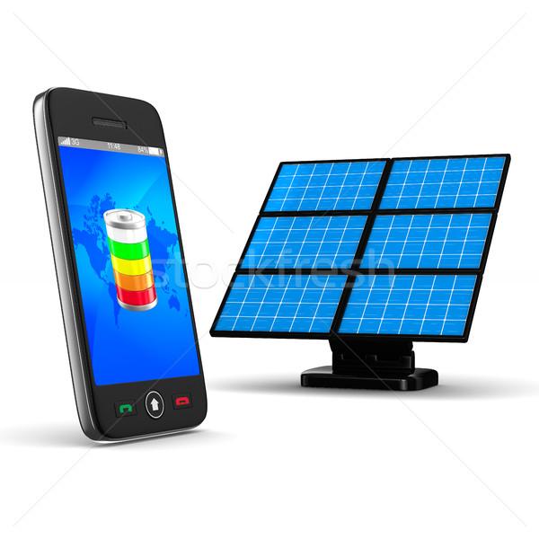Foto stock: Telefone · branco · isolado · 3D · imagem · sol
