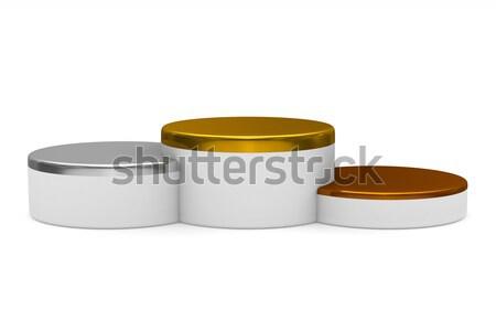 подиум белый изолированный 3d иллюстрации этап золото Сток-фото © ISerg