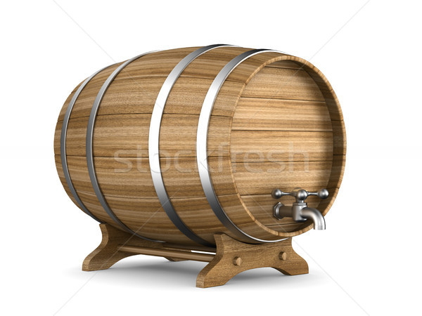 Wooden barrel on white background. Isolated 3D illustration Stock photo © ISerg