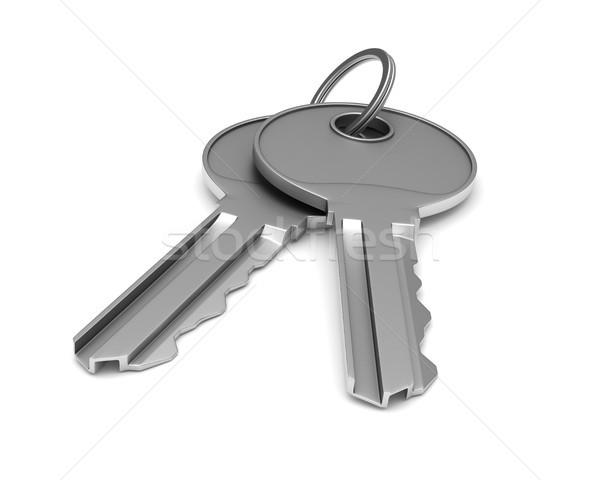 Two metallic keys on white background. isolated 3d illustration Stock photo © ISerg