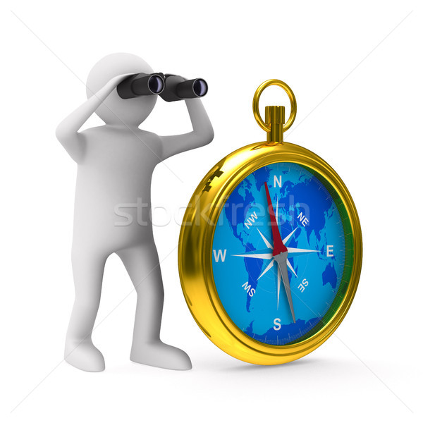 Stock photo: compass on white background. Isolated 3D image