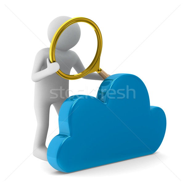 Man with magnifier and cloud on white background. Isolated 3D im Stock photo © ISerg