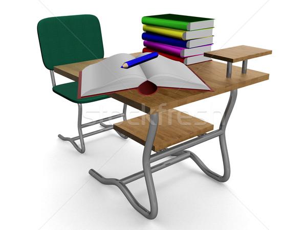 Schule Schreibtisch Lehrbücher Bleistift 3D Bild Stock foto © ISerg