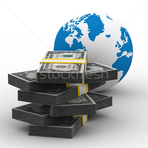 Foto stock: Negocio · global · aislado · 3D · imagen · blanco · mundo