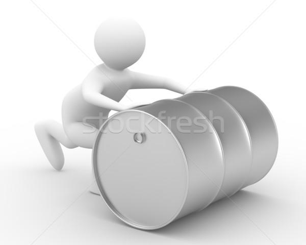 men push vat on white background. Isolated 3D image Stock photo © ISerg