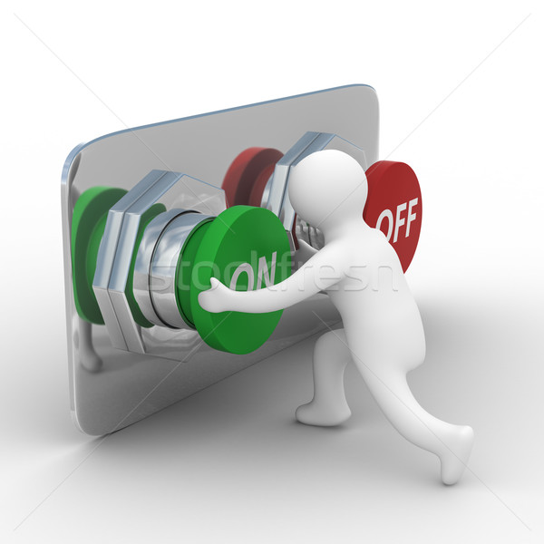 person pushes the button. Isolated 3D image Stock photo © ISerg
