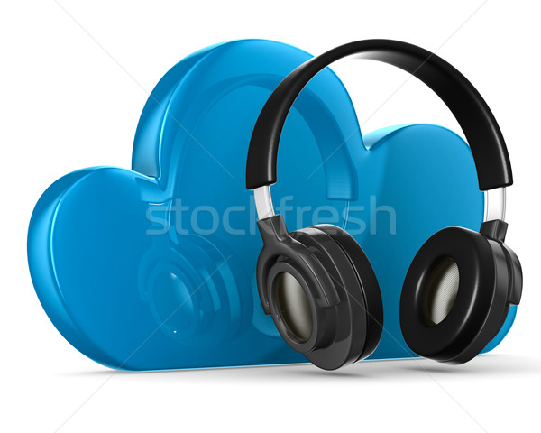 Cloud and headphone on white background. Isolated 3D image Stock photo © ISerg