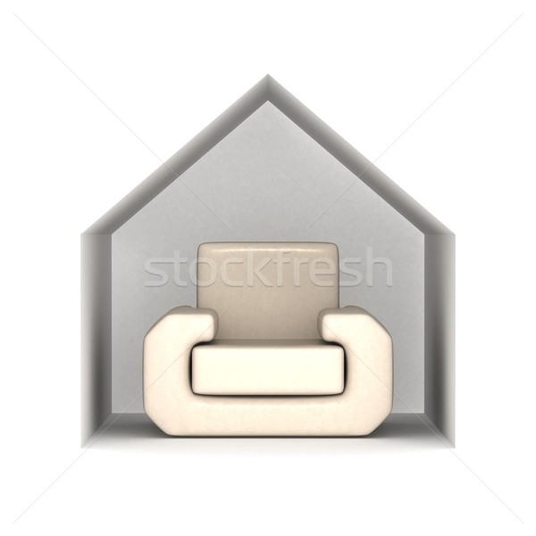 Armchair under a house roof. 3D image. Stock photo © ISerg