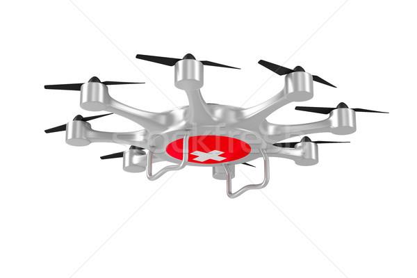ambulance octocopter on white background. Isolated 3d illustrati Stock photo © ISerg