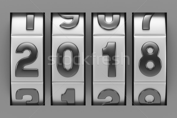 Coded lock. 2018 year. 3D illustration Stock photo © ISerg