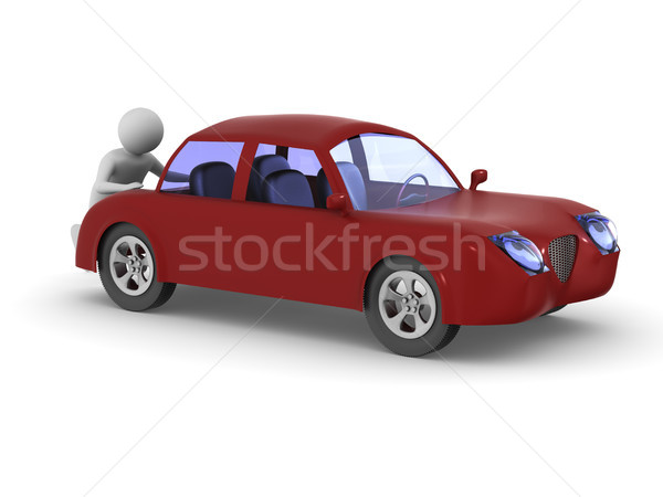 man pushes broken car. Isolated 3D illustration Stock photo © ISerg