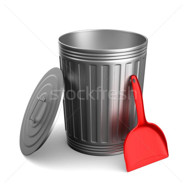 Stock photo: Garbage basket on white background. Isolated 3D illustration