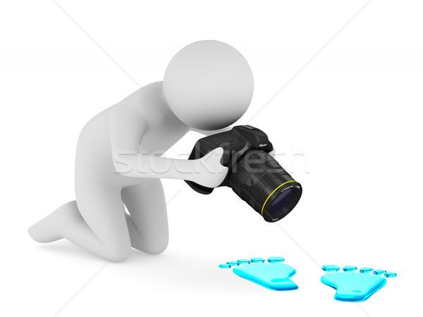 man with digital camera on white background. Isolated 3D illustr Stock photo © ISerg
