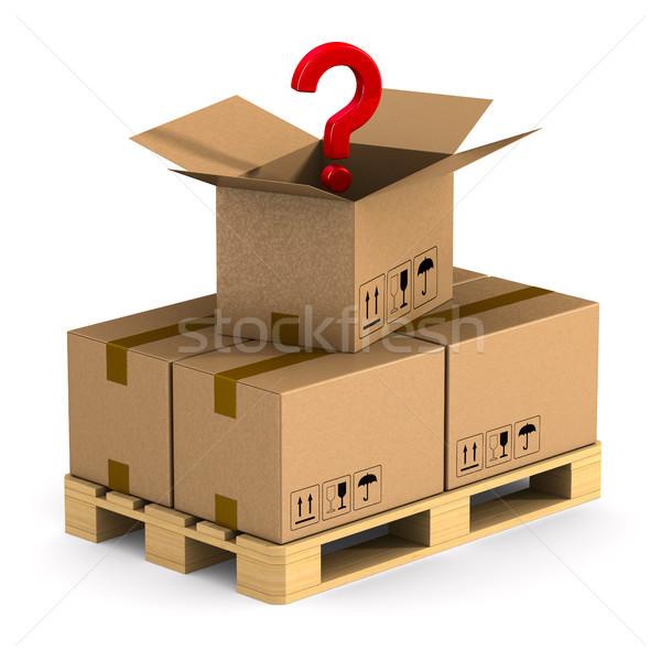 Ahşap kargo kutu soru beyaz yalıtılmış Stok fotoğraf © ISerg