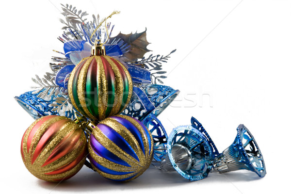 christmas spheres in a tinsel on a white background Stock photo © ISerg