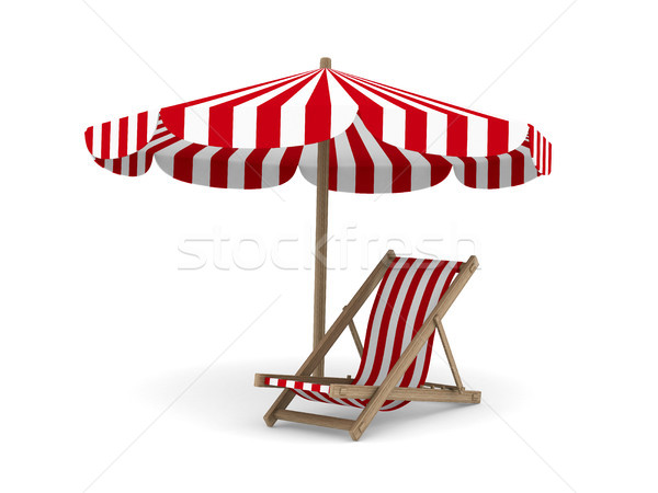 Stock photo: Deckchair and parasol on white background. Isolated 3D image