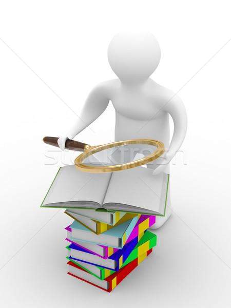 Сток-фото: человека · книгах · изолированный · 3D · изображение