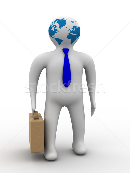 Stock photo: businessman on a white background. Isolated 3D image.