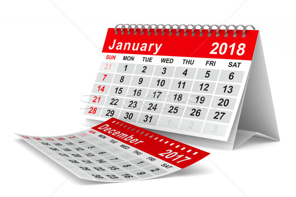 Stock photo: 2018 year calendar. January. Isolated 3D illustration