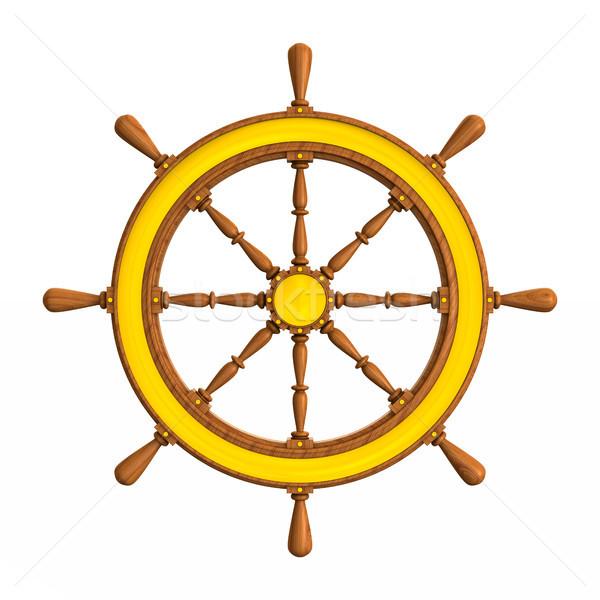 ship wheel on white background. Isolated 3D illustration Stock photo © ISerg
