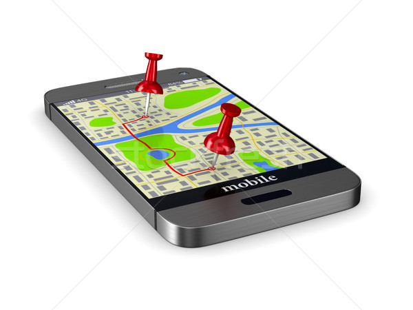 Navigation in phone. Isolated 3D illustration Stock photo © ISerg