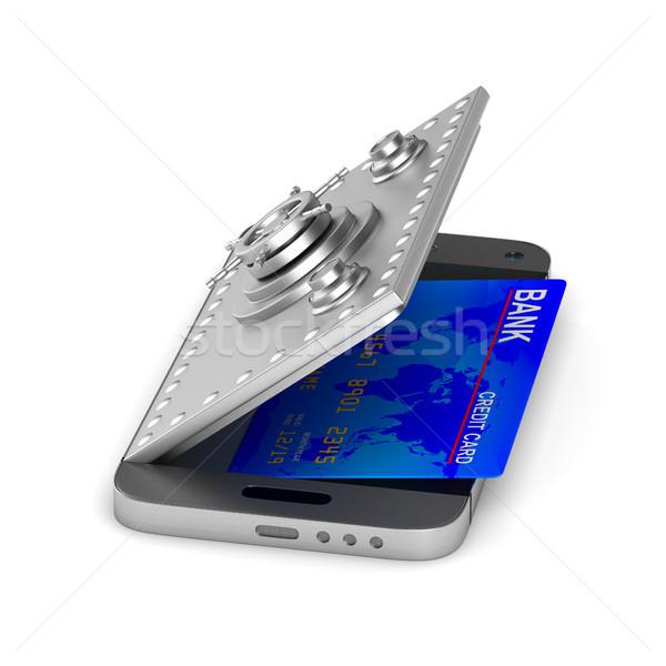 Protection phone on white background. Isolated 3D illustration Stock photo © ISerg