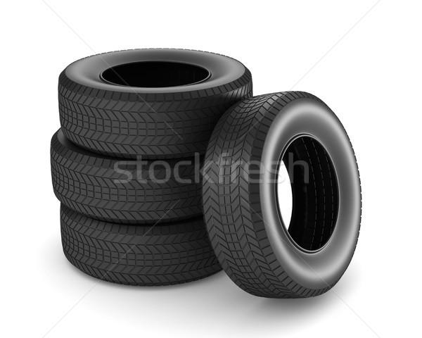 Foto stock: Neumático · blanco · aislado · 3d · coche · negro