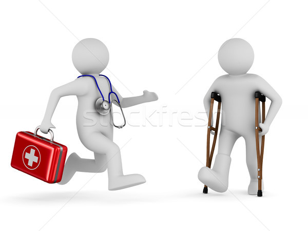 man on crutches and doctor. Isolated 3D illustration Stock photo © ISerg