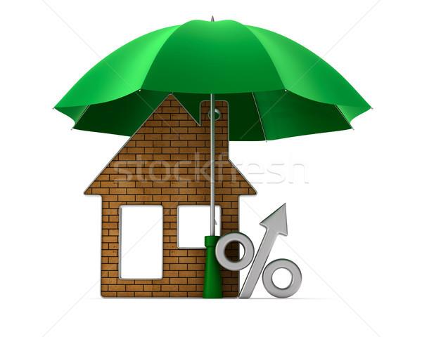 Metálico bugiganga casa por cento guarda-chuva branco Foto stock © ISerg