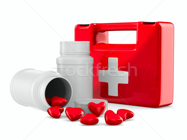first aid and hearts on white background. Isolated 3D image Stock photo © ISerg