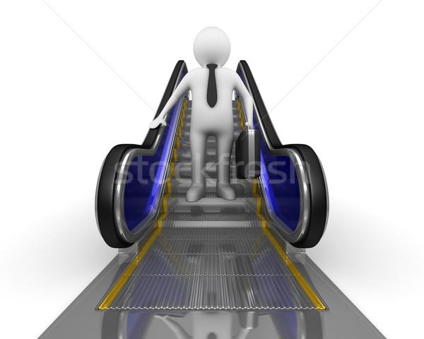 Işadamı yürüyen merdiven yalıtılmış 3D görüntü zemin Stok fotoğraf © ISerg