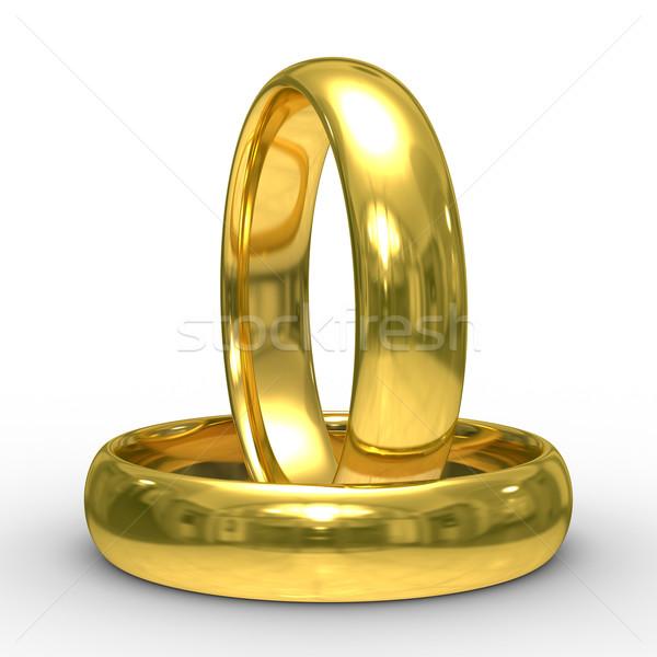 ストックフォト: 2 · 金 · 結婚指輪 · 孤立した · 3D · 画像
