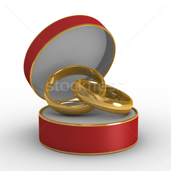 Red casket with two wedding rings. Isolated 3D image Stock photo © ISerg