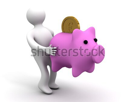 Stock photo: doctor puts injection to pig. Isolated 3D image