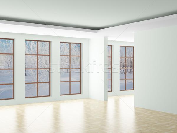 Stockfoto: Lege · kamer · landschap · achter · Open · venster · 3D